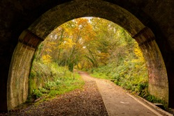 Colour photograph of a small section of the Castleman trailway taken from within an Victorian railway tunnel.