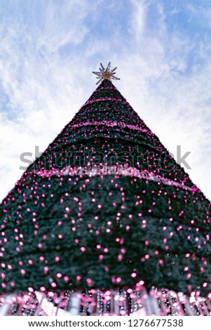 Colour photograph of large conical Christmas tree decorated with a gold star and pink lights taken from underneath.