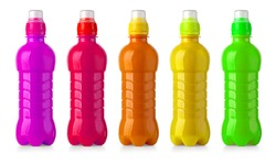 colour  plastic water bottle isolated on white background with clipping path