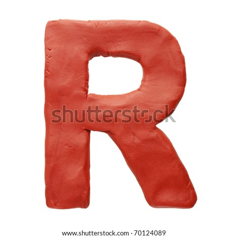 Colour plasticine letter isolated on a white background