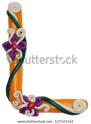Colour plasticine letter isolated on a white background - alphabet