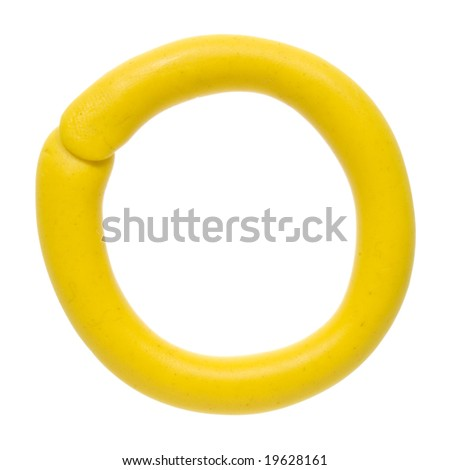Colour plasticine letter isolated on a white background - yellow O