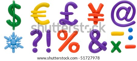 Colour plasticine symbols isolated on a white background