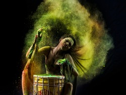 Colour powder splash drumming and hair flip action by young model