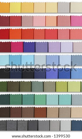 Colour samples palette of fabric. For fashion designs and decoration