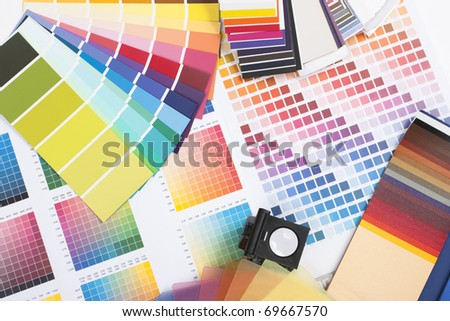 colour spectrum of swatches as used by a graphic designer or painter