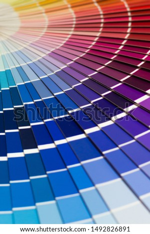 Colour swatches book. Rainbow sample colors catalogue. Сolorful background.