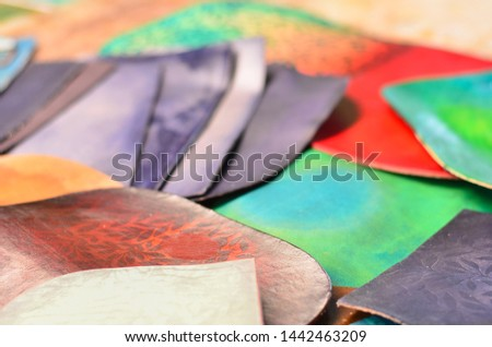 Coloured cowhide samples. Color cow hide cuttings with patterns.  #1442463209