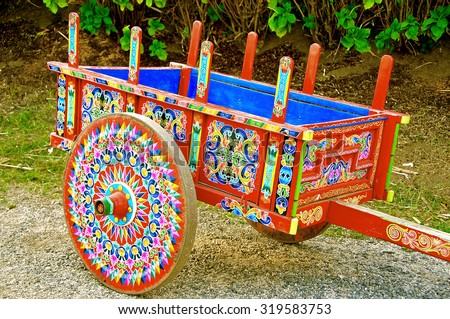 coloured decoration wagon