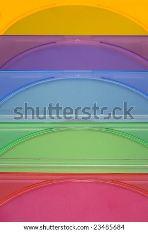 Coloured DVD boxes isolated
