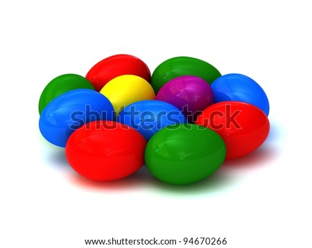 Coloured Easter eggs on a white background 3D render