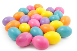 Coloured easter eggs on the white background
