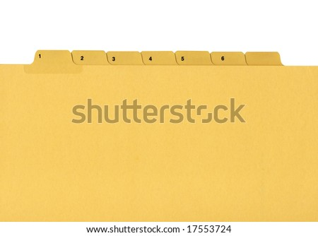 Coloured file folder with numbered tag