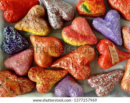 Coloured papier-mâché hearts Foto d'archivio ©