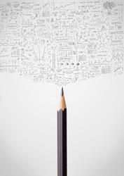 Coloured pencil close-up with sketchy diagrams