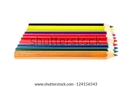coloured pencils in a row on white - stock photo