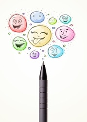 Coloured smiley face bubbles coming out of pen