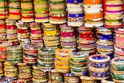 Colourful and beautiful bangles is selling in clock tower market in jodhpur.
