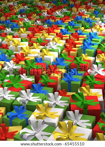 Colourful array of presents. Laid out in an array as if ready for distribution.