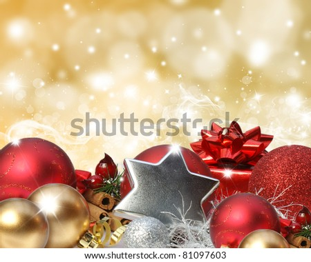 Colourful background with stars and bokeh lights effect and Christmas decorations