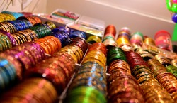 Colourful bangles from a shop in Chennai,India. These bangles are made of Glass used as beauty accessories by Indian women