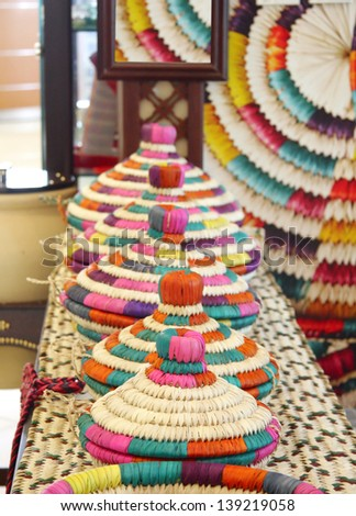 Colourful baskets made os date palm leaves