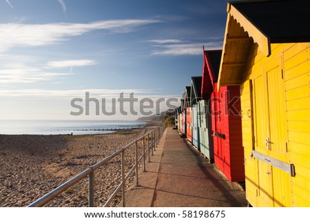 Colourful beach huts on the Cromer beach