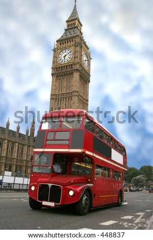 colourful big ben with a classic london bus in front - stock photo