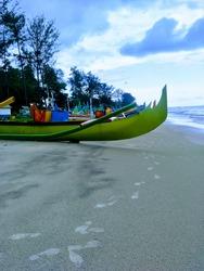 Colourful boat at Serdang Bay, Belitung Island, Indonesia during sunset