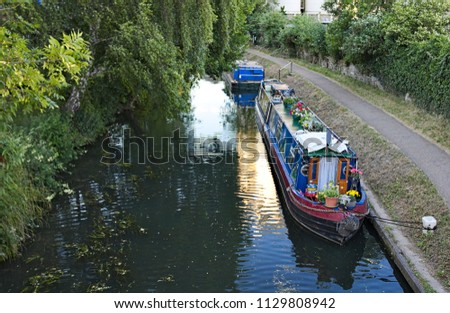 Colourful boat on the Stort River, Bishop's Stortford, England, Uk