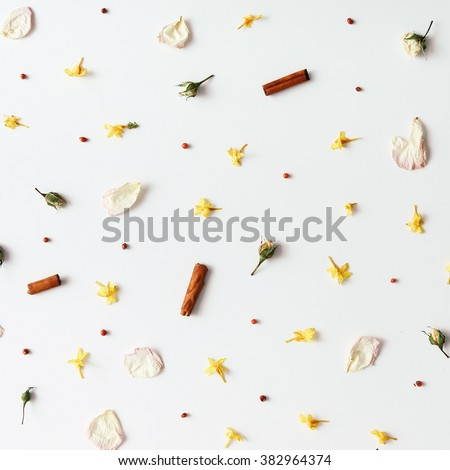 Colourful bright pattern made of flowers