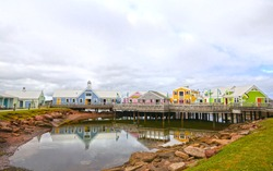 Colourful Buildings at Summerside, Prince Edward Island, PEI, Canada. Small shops selling PEI souvenirs at the harbour.