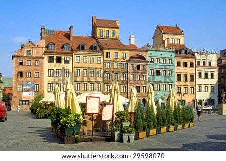 Colourful buildings in the center of Warsaw city, Poland