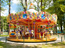 Colourful carousel in the Park