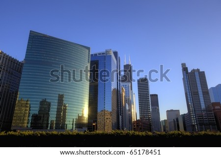 Colourful Chicago Downtown at Sunset