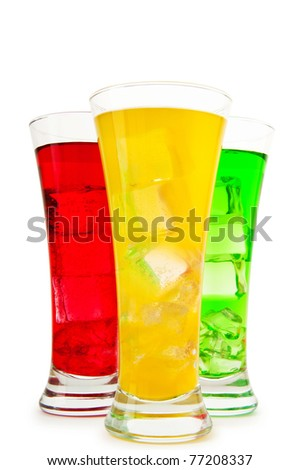 Colourful cocktail in glasses with ice