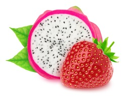 Colourful composition with cutted dragon fruit and strawberry isolated on a white background with clipping path.