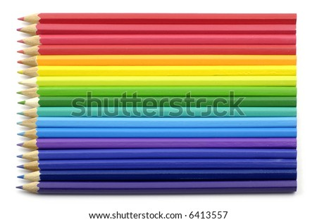 colourful crayons in spectrum order