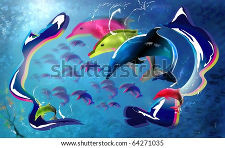 Colourful Dolphins in the sea. Digital Illustration with 3D effect.