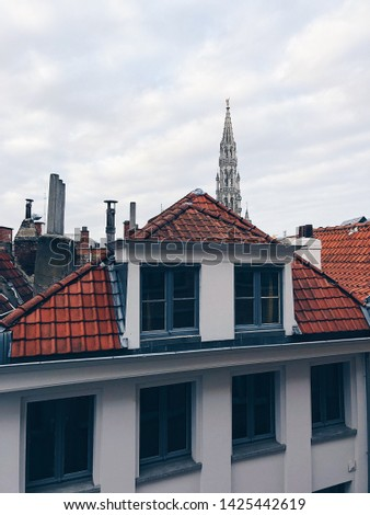 Colourful exteriors with tile roofs. Old town houses in Brussels, Belgium, Europe #1425442619