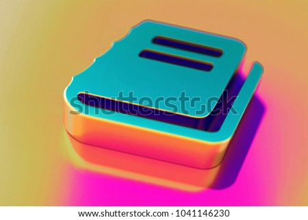 Colourful File Text Icon on Candy Pink-Yellow Background With Art Focus. 3D Illustration of Document, File, Text, Word Icon Set for Presentation.