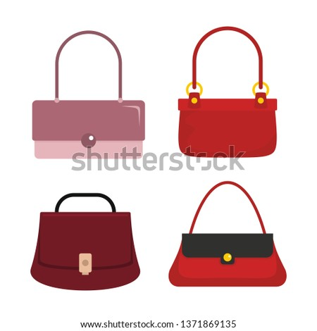 Colourful flat ladies handbags, woman accessories   collection. Handbag luxury, accessory bag female   illustration