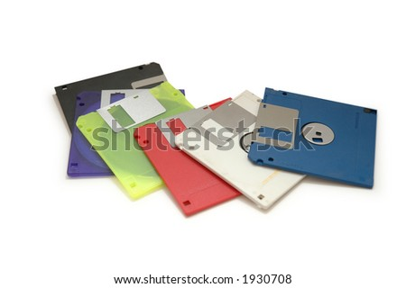 Colourful floppy disks isolated on white