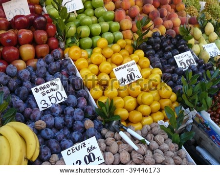 Colourful Fruit Stall arrangement