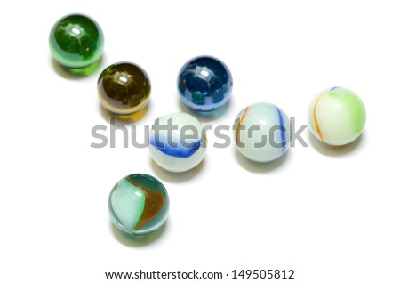 colourful glass marble balls isolated on white background
