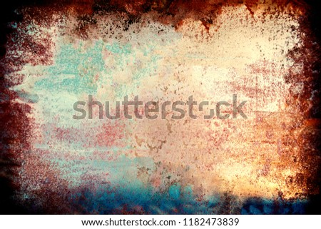 Colourful grunge background. Dust Overlay and  Distress Background with scratches. Artistic Dark messy wallpaper.  #1182473839