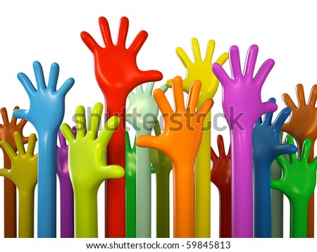 Colourful hands isolated on white background 3D rendering