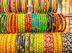 Colourful Indian bangles or wrist bracelets on display in delhi, India