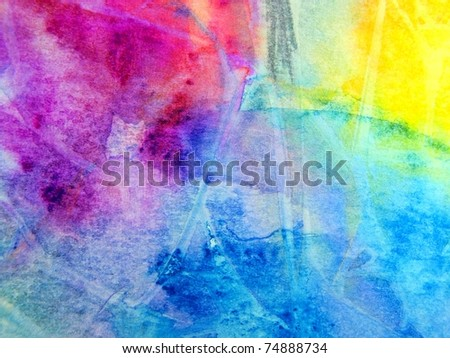 Colourful Layers of Watercolour 2 - stock photo