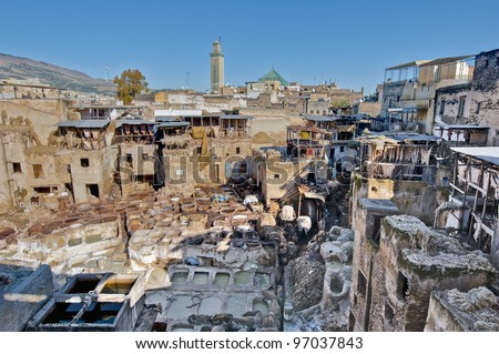 Colourful leather tanneries at Fez, Morocco - stock photo
